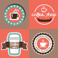 Coffe with banner label ribbon design