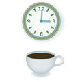 Coffe cup and clock coffee break with illustration Royalty Free Stock Photo