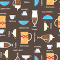 Coffe cups background. Seamless vector pattern