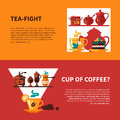 Coffe and Tea 2 Banners Design Royalty Free Stock Photo