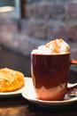 Coffe with whiped cream for breakfast Royalty Free Stock Photo