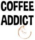 Coffee Addict Splash Stain Text Vector Illustration