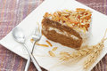 Coffee almond cake home made bakery on white dish Stock Photo