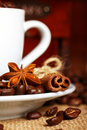 Coffee and anise star Stock Photos