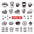 Coffee Attributes set. Outline Hand Drawn elements. Different cups of coffee Espresso, cappuccino, latte, ristretto