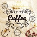 Coffee background on a old paper texture with map and coffee mil Royalty Free Stock Photo