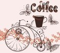 Coffee background with swirl old-fashioned bicycle and coffee