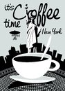 Coffee Banner On Background Of Statue Of Liberty