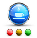 Coffee Bar Cristal Glossy Button Royalty Free Stock Images