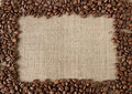 Coffee bean on burlap frame Royalty Free Stock Photo