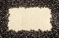 Coffee Bean and Burlap Frame Royalty Free Stock Photo