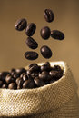 Coffee Bean Caffeine in sacks Royalty Free Stock Images