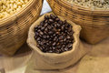 A coffee bean in a container with both roasted and raw represent a fresh and scent of coffee seed Royalty Free Stock Photos