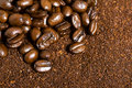 Coffee Bean and Grounds Background Royalty Free Stock Photography