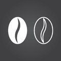 Coffee bean icon. Solid and Outline Versions. White icons on a d