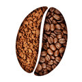 Coffee bean symbol beans and instant granules shaped into a Stock Photos