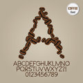 Coffee beans alphabet and digit vector set of Stock Photography