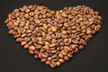 Coffee beans as a heart Stock Image