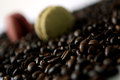 Coffee beans background with and macarons Royalty Free Stock Photography