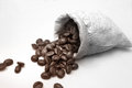 Coffee beans in bag a sack Royalty Free Stock Image