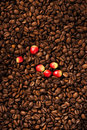 Coffee beans and berry Royalty Free Stock Photo