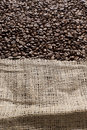 Coffee beans in a big canvas bag Royalty Free Stock Image