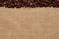 Coffee beans on burlap #1 Royalty Free Stock Photo