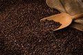 Coffee beans with burlap sac Royalty Free Stock Photo