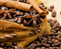 Coffee beans, cinnamon and anise in a bag Royalty Free Stock Photos
