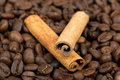Coffee beans and cinnamon sticks Royalty Free Stock Photos