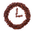Coffee beans in clock symbol isolated Stock Photo
