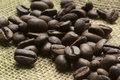 Coffee beans coffe on juta sack Royalty Free Stock Photography