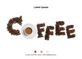 Coffee beans with coffee cup on white background