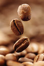 Coffee beans falling into a heap Royalty Free Stock Photos