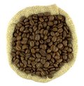 Coffee beans in a flax sack a top view Royalty Free Stock Images