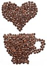 Coffee beans in form of heart. Stock Image