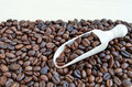 Coffee beans freshly roasted and wooden spoon Stock Photography