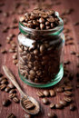 Coffee beans in a glass jar Royalty Free Stock Photo