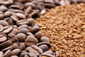 Coffee beans and granules Royalty Free Stock Photo
