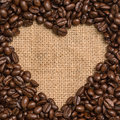 Coffee beans heart Stock Photography