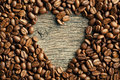 Coffee beans with heart Stock Photo
