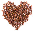 Coffee beans in a heart shape Royalty Free Stock Images