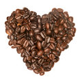 Coffee beans in heart shape Stock Image