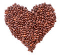 Coffee beans in heart symbol isolated Royalty Free Stock Photography