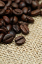 Coffee beans on hessian cloth Stock Image