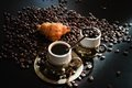 Coffee beans image of two cups of with croissant Stock Photography