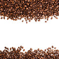 Coffee beans isolated on white background with copyspace for te text or texture concept Royalty Free Stock Photos