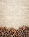 Coffee beans juta background Royalty Free Stock Photo