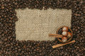 Coffee beans on jute background caffe edition Stock Images