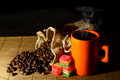 Coffee beans,jute bag,cup of coffee and jelly Royalty Free Stock Photo